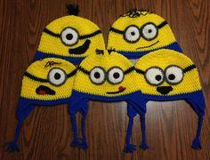 Crochet Minion Earflap Hats