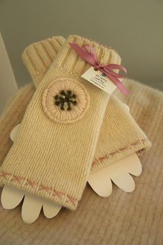 Lambs wool fingerless gloves made from a recycled by sbretro, $25.00