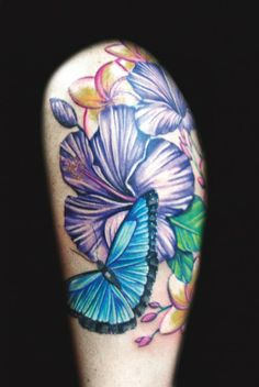 Butterfly tattoo by Meghan Patrick #InkedMagazine #floral #butterfly #tattoo #tattoos #flowers #ink