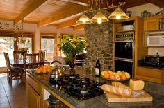 italian Warmth and Elegant Country kitchen Style with River stone Walling