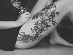 tattoo idea, thigh tattoos, tattoo flowers, black white flowers tattoos, large thigh tattoo, a tattoo, flower tattoos, tattoo thigh girls, tattoos girls thigh