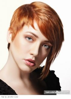 Cute Short Red Asymmetrical Pixie in copper