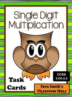 Single Digit Multiplication Task Cards and Recording Sheet - Owl Themed #TPT $Paid