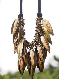 metal leafy bronze brass finish necklace modern by simplylivly, $35.00