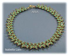 ARIA SuperDuo Beadwork Necklace Pdf tutorial by bead4me on Etsy, $10.00
