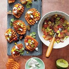 Sweet Potato Crostini with Goat Cheese and Grape Salsa | Spicy, sweet, and totally addictive, this easy appetizer starts with preseasoned fries. | SouthernLiving.com