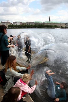 Walk on Water balls in Hamburg, Germany. This looks like a blast.