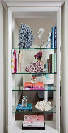glass shelves in living room, open shelves, small space