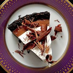 Mocha-Espresso Cream Pie | This pie is a chocolate-lover's dream. A crunchy cookie crust is filled with a decadent chocolate filling before being topped off with Coffee Whipped Cream. | SouthernLiving.com