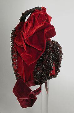 House of Virot Woman's Bonnet, circa 1885. Silk velvet, beads; Height: 7 3/8 in.
