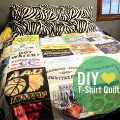 DIY T-shirt Quilt for Hoarders - tutorial by Stacie Grissom from Stars for Streetlights. These t-shirt quilt directions are great if you have a collection of old t-shirts you don't wear anymore!