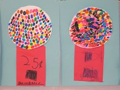 The Clever Feather: Gumball Machines pencil, 100th day, wayne thiebaud, gumbal machin, kindergarten art projects, gumball machine, clever feather, feathers, crafts