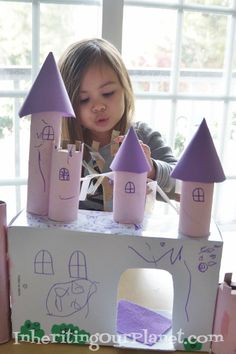Toilet Paper Roll and Shoe Box Castle box castle, toilet paper rolls, recycleupcycl idea, kid craft