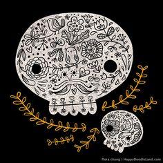 Floral Skulls - print | Happy Doodle Land