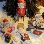 A collection of Santas relaxing at the Kalamazoo House Bed & Breakfast