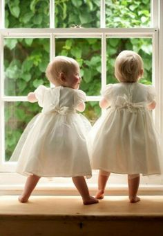 twin girls, window, twin children