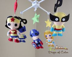 Baby Mobile - Baby Crib Mobile - Nursery Super Heroes Mobile - Super Girls (You Can Pick Other Custom Heroes). $95.00, via Etsy.