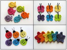 Crocheted fish, star, butterfly & ladybug
