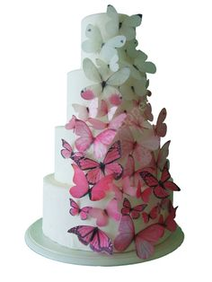 An incredible cascade of ombré butterflies made from edible rice paper.