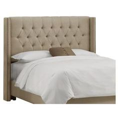 Upholstered headboard with foam padding and pine wood frame.    Color: Sandstone