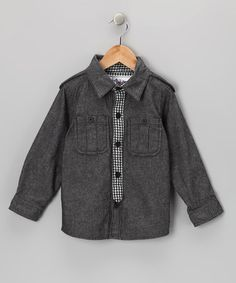 Dark Gray Oxford Button-Up & Tie - Infant, Toddler & Boys by Kapital K on #zulily