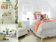 White and Orange Bedroom @Sarah Chintomby Nasafi Grayce