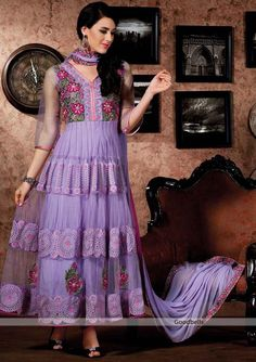 Pakistani Style Purple Shade Salwar Kameez | Look different with this full length salwar kameez |   Embroidered neck gives it heavy look   | Vertical patch panels featured designer kameez |   Specialty: Pakistani style | $120.00 | http://goodbells.com/salwar-suits/pakistani-style-purple-shade-salwar-kameez.html