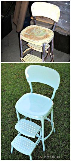 powder coat, paint cans, step stools, refinished furniture, metal step, kitchen chairs, vintage metal, metal stool, vintag metal