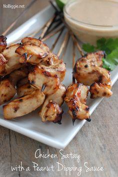Chicken satay w peanut dipping sauce recipe on NoBiggie.net #MarzettiRecipes #Spon