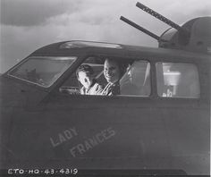 Pilot 1st Lt James M. Smith (right) and Co-Pilot 2nd Lt Fred N. Dibble in the cockpit of B-17F 'Our Gang' of 324th BS, 91st BG, US 8th Air Force, Bassingbourn, England, United Kingdom, 15 Jun 1943 pilot