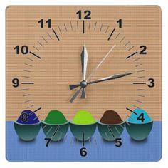 Icecream Cups Wall Clock by elenaind