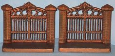 VINTAGE BOOKENDS METAL IRON GATE CA 1925