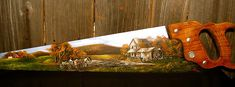 Old Grist Mill Handsaw paint sawblad, blade paint, paint craft, paint blade