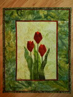 Red Tulip Quilted Wall Hanging, Applique Batik Wall Hanging,