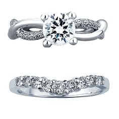 Brides: Unique Engagement Ring From A. Jaffe and Wedding Band From Kay Jewelers