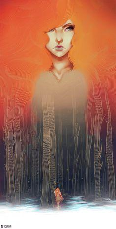 artwork illustr, rachel rusk, macabre art, illustrations, augustin, digital art, inspir, forest, illustration art