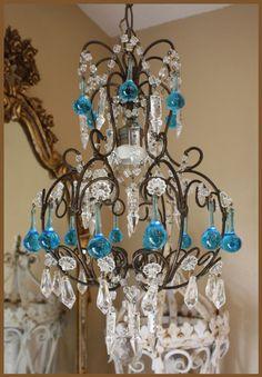 Italian Beaded Antique Chandelier Blue Drops