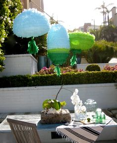 Pinata inspired party lanterns, just in time for summer. Tutorial: http://www.designsponge.com/2011/06/diy-project-pinata-inspired-party-lanterns.html #DesignSponge