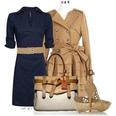 Cute first day of work outfit! dress shirts, fashion, cloth, style, fall outfits, work outfits, trench coats, shoe, shirt dress