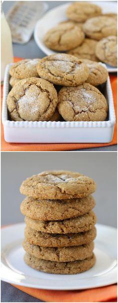 Pumpkin Gingersnap Cookie Recipe on twopeasandtheirpod.com Love these pumpkin cookies! #cookies #pumpkin