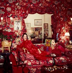 "Diana Vreeland's (whose memoir documentary is out this month) legendary living room. Of its inspiration she notoriously said, ""Red is the great clarifier - bright, cleansing, revealing. It makes all colors beautiful. I can't imagine being bored with it - it would be like becoming tired of the person you love. I wanted this apartment to be a garden - but it had to be a garden in hell."""