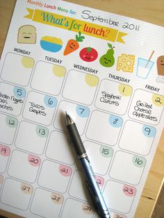 {Free Printable} Monthly Lunch Planner