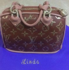Louis vuitton purse chocolate fondant hand painted logo