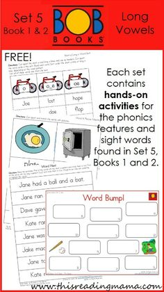 FREE BOB Book Printables for Set 5, Books 1 (The Game) and 2 (Joe's Toe)   This Reading Mama