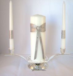 Unity Candle Set and Candle Holder by PleasantRidgeCandles on Etsy, $71.00