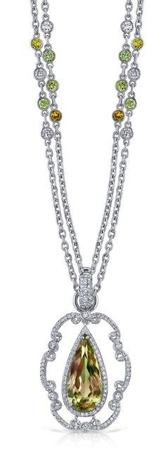 Platinum and Diamond Csarite™ Raindrop Necklace by Erica Courtney®