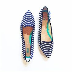 Printed pointy flats in watercolor #LivedinColor