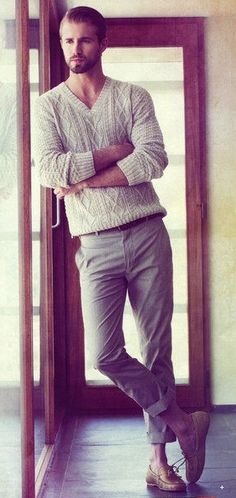 cable-knit sweater/slacks