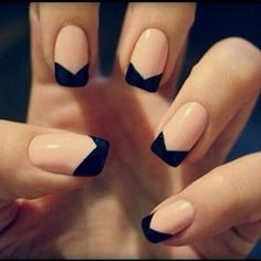 Nude & Black nude nails, tuxedo, french manicures, nail arts, black nails, french tips, nail design, nail idea, chevron nails