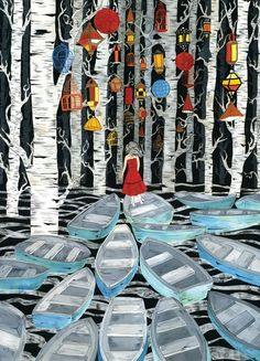 Findings of a Voyager by Dan-ah Kim (dkim on Etsy). I love this artists and I own a few of her prints.  #boats #trees #lanterns